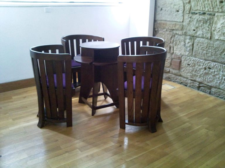 Domino table with Barrel Chairs