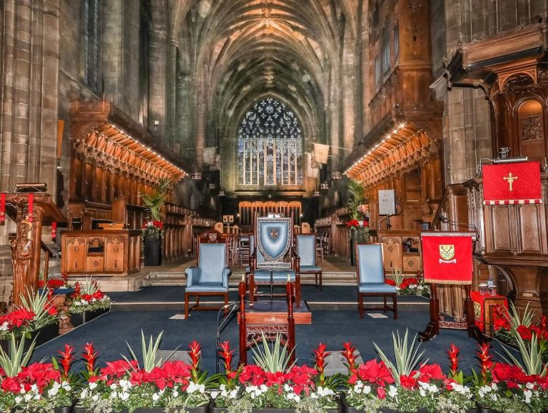 UWS Graduation furniture at the chancel of Paisley Abbey