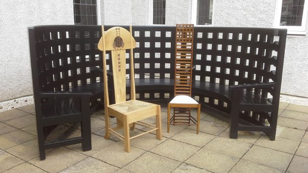 Hill-House-Garden-Seat-with-oak-side-chair-and-golden-ladderback